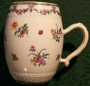 Antique Chinese Export Tankard/Mug Famille Rose Hand-painted Flowers & Insects 18thC
