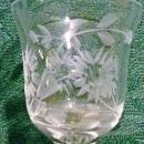 Vintage Blown Glass Cordial Set/6 Engraved Florals