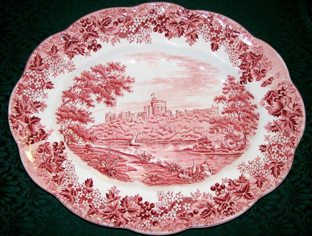 Vintage Meakin Romantic England Platter Red Pictorial Transfer 13.5