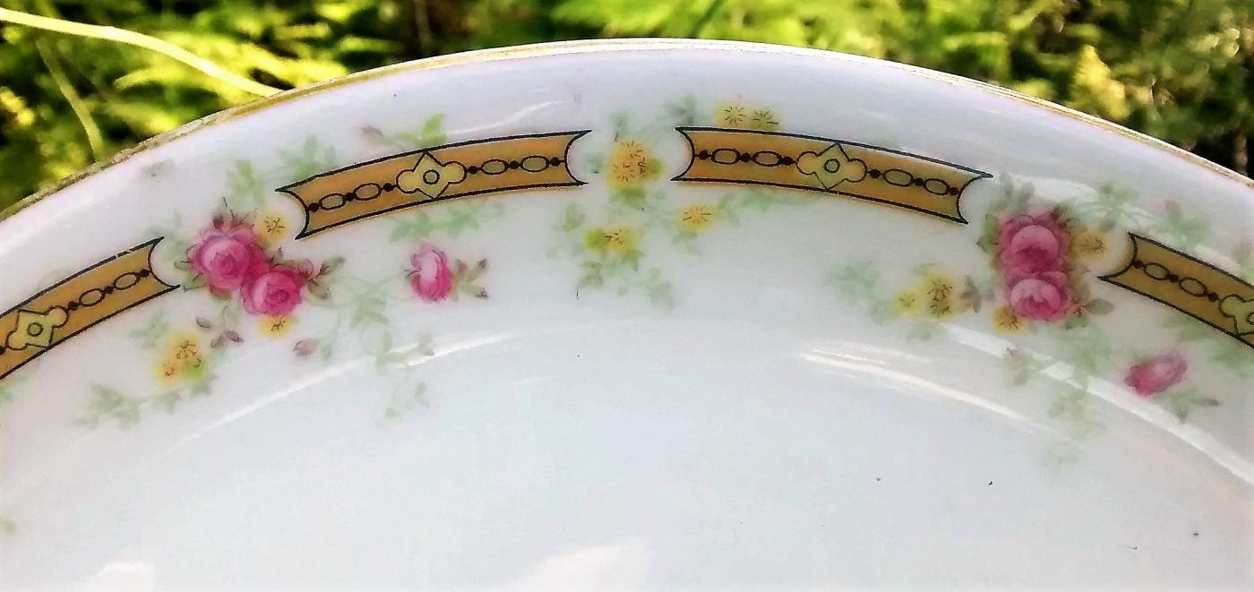 Antique Guerin Limoges Cake Plate GUE297 Small Pink Roses