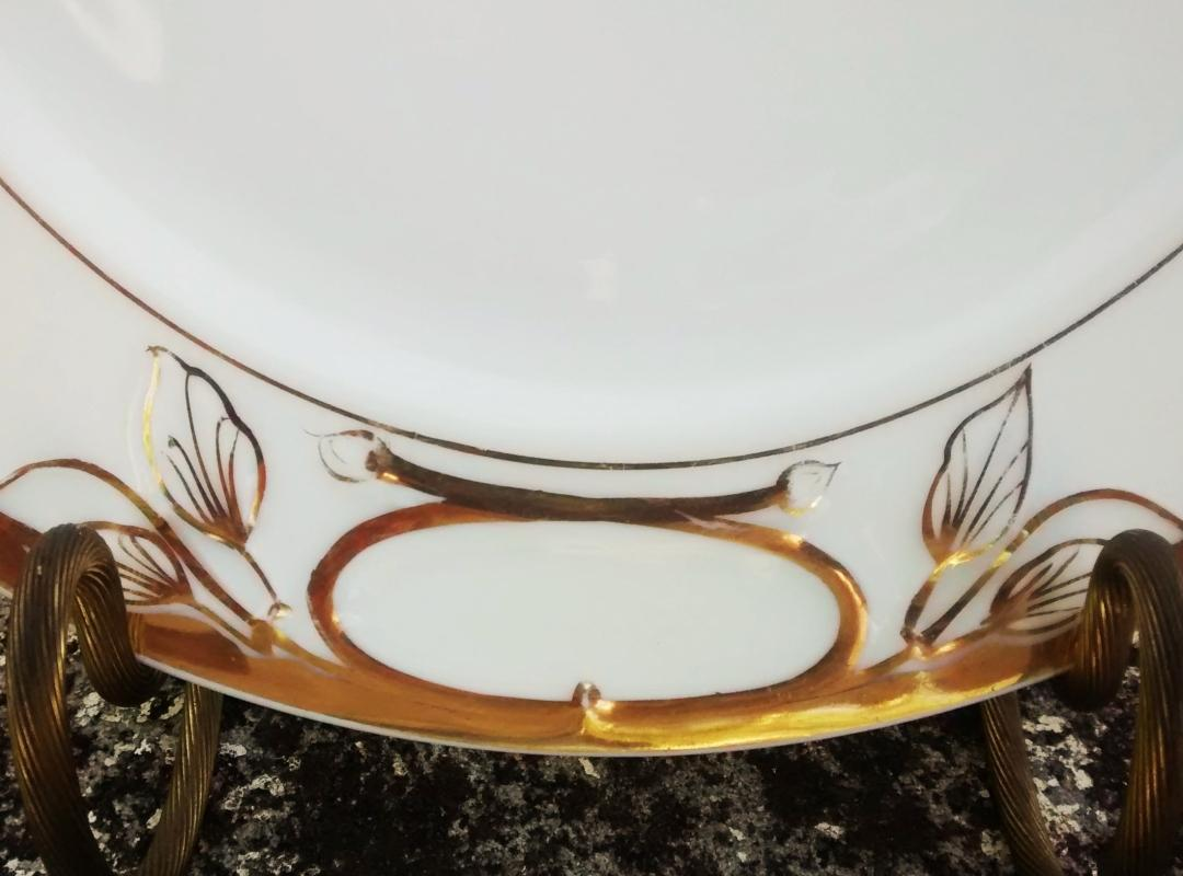 Antique Haviland Wedding Ring Limoges Cake Plate H767 Gold/White