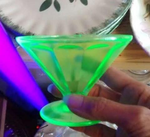 Vintage Federal FEG6 Green Depression Glass Sherbets/Champagnes Set/5