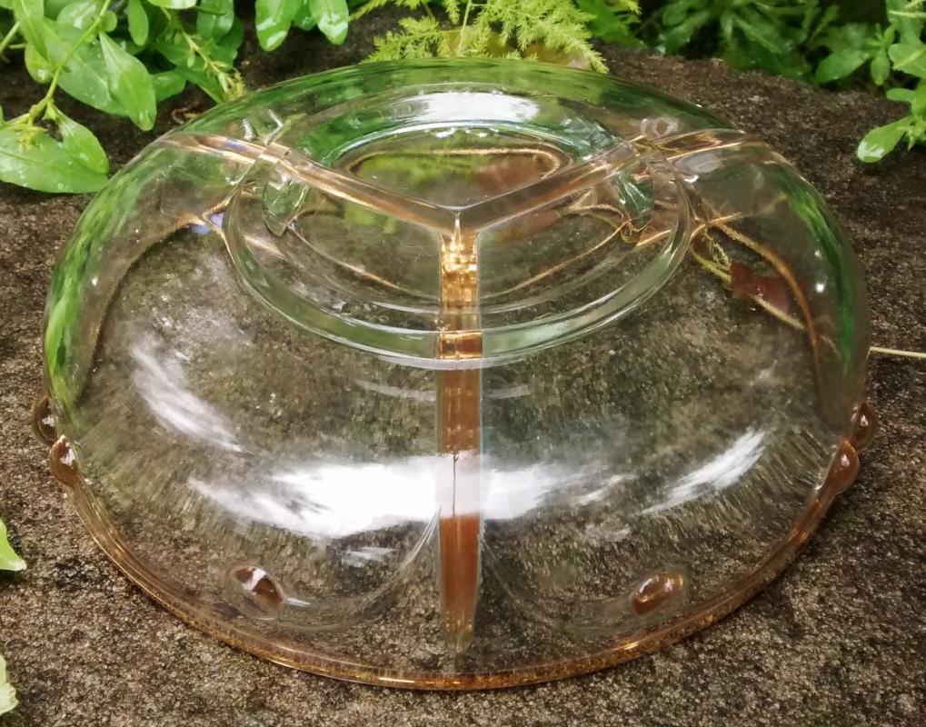 Vintage Paden City Comet Divided Bowl 3-Section Gold Trim