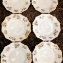 Antique Hermann Ohme Silesia Plate Set/6 Pink/Lavender Daisies 6.5