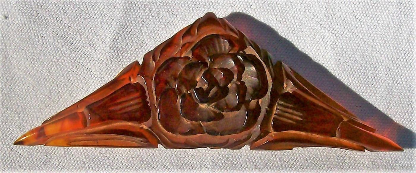 Vintage Carved Root Beer Bakelite Plastic Dress Clip Patent 1932 Triangle Rose/Lilies