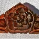 Vintage Carved Root Beer Bakelite Plastic Dress Clip Patent 1932 Triangle Rose/Lilies