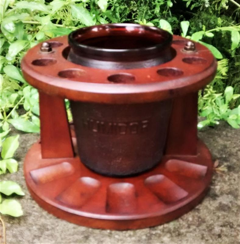 Vintage Dunrite Pipe Stand w/Humidor Amber Glass Walnut Rack AS IS