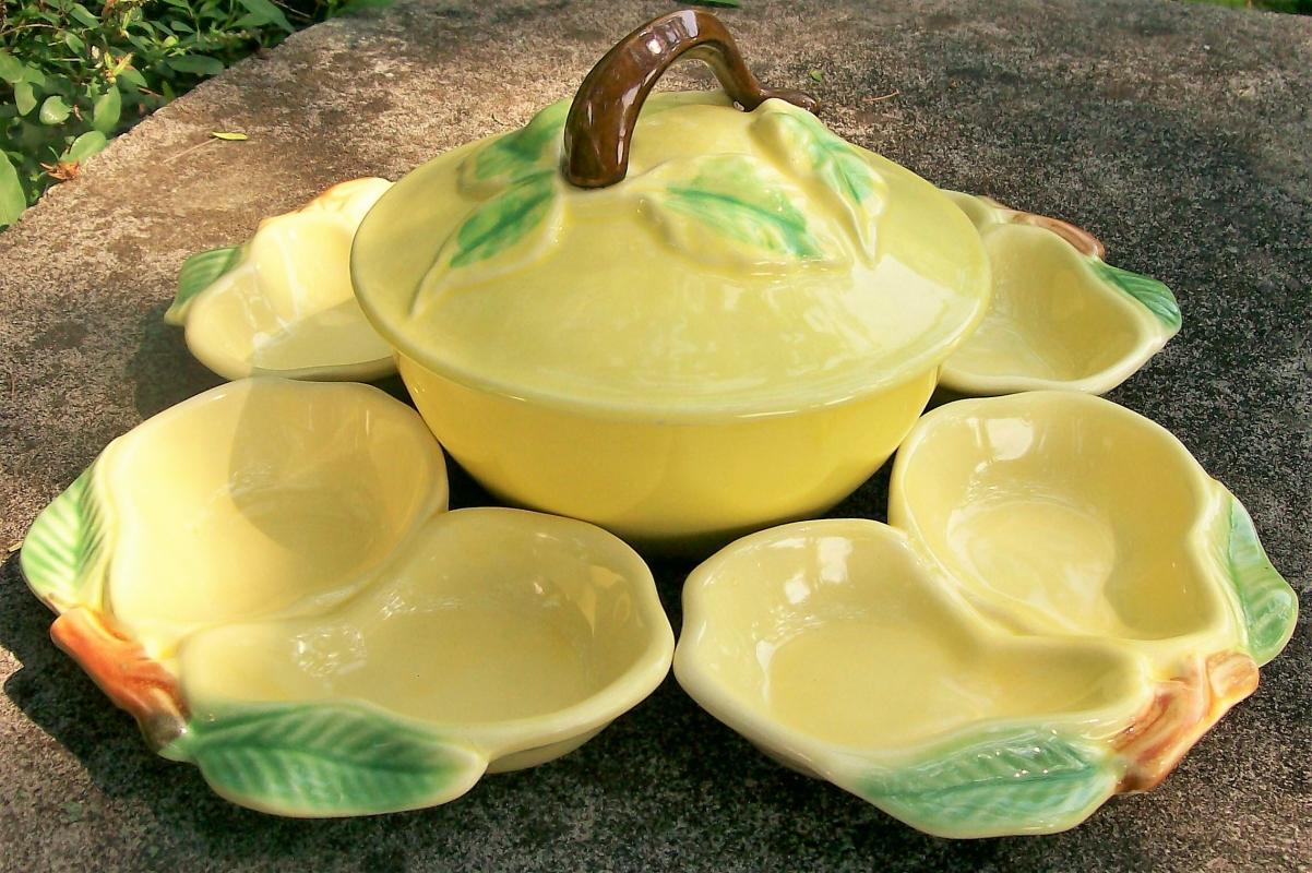 Vintage Belmar of California Serving Set 5 Pc. Figural Fruit Yellow/Green