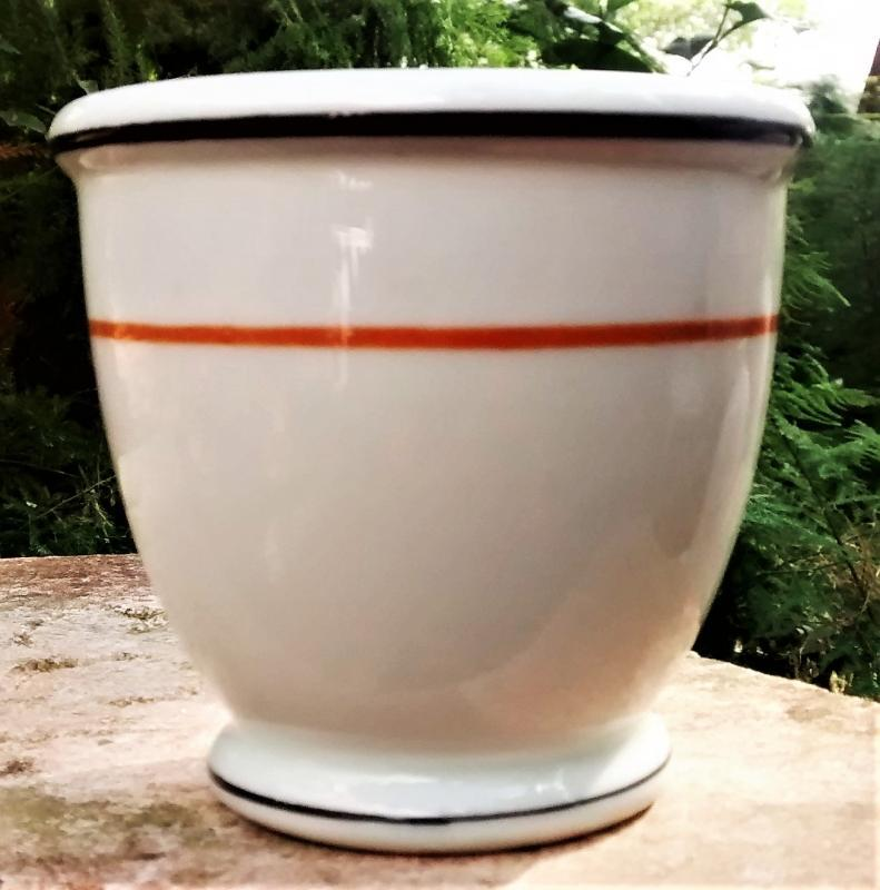 Vintage Wallace Restaurant Custard/Double Egg Cup Orange/ Black Lines WAL24