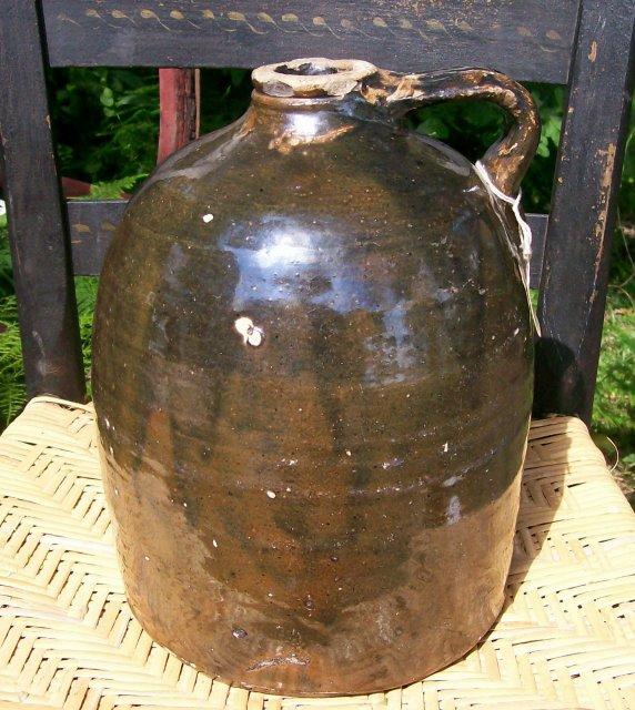 Antique Stoneware Jug Hand-Thrown 1800's Dark Brown Glaze
