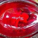 Vintage Westmoreland Ruby/Cranberry Glass Egg Box Mary Gregory-Style Signed 1980