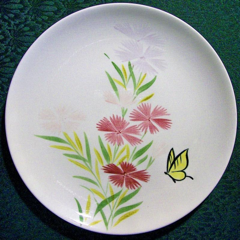 Vintage Red Wing Pink Spice Plate Set/4 Butterfly/Flowers 11