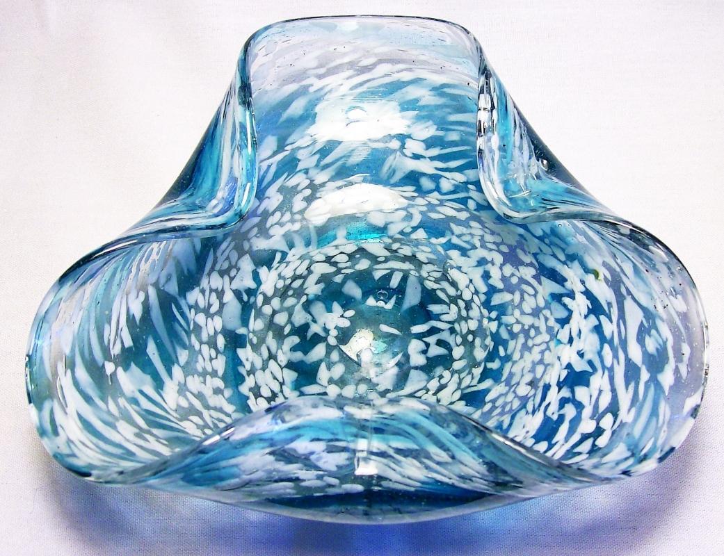 Vintage Mid-Century Modern Italian Glass Tri-Corn Dish Blue & White