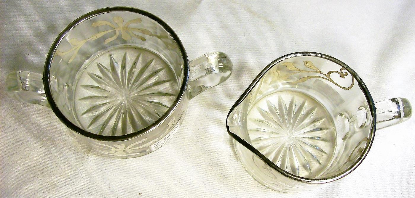 Antique Art Nouveau Silver Overlay Cream & Sugar Floral Mismatch Ca. 1910