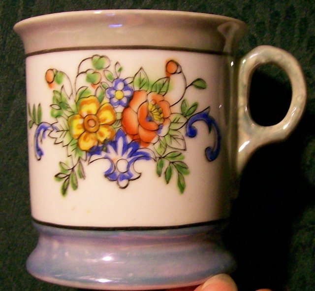 Ceramic Shaving Mug Early 1900's Blue/Green Luster & Floral 3.75