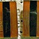 Vintage 1950s Bakelite Earrings Rootbeer & Black Rectangle Clip-On MCM
