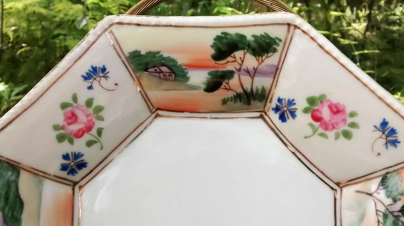 Antique Nippon Octagonal Dish HP Landscape/Floral 1891-1921