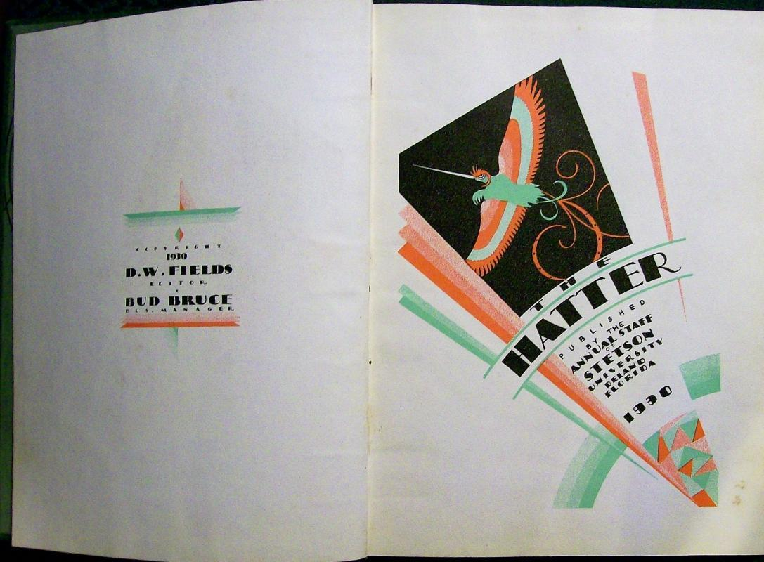 Vintage Stetson University Yearbook 1930 Deland Florida Original Art Deco