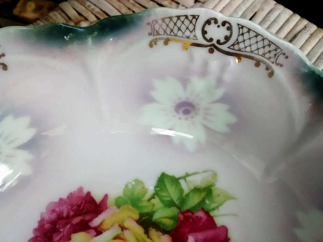 Antique Bavarian Bowl Pink/Yellow Roses Airbrushed Rim 8.75