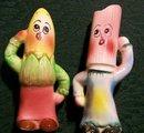 Vintage Anthropomorphic Vegetable S&P Shakers Corn & Rhubarb
