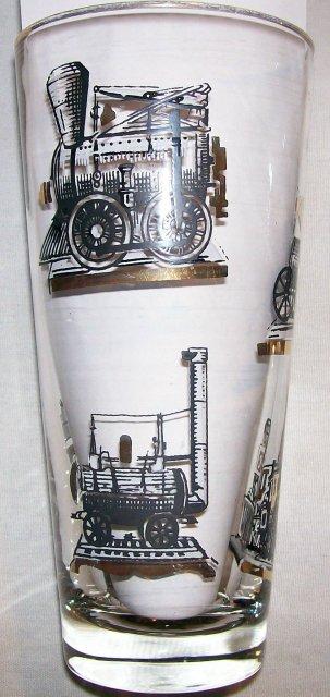 Vintage Libbey Antique Train Tumbler Set/4 1950s Barware 6.5