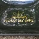 Vintage Grecian Bay Hotel Cyprus Dish/Ashtray Bent Glass MCM 1960s