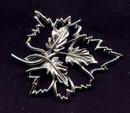 Vintage Emmons Leaf Brooch/Pin Rhodium-Plated Openwork 1950s-60s MCM