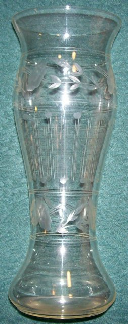 Imperial Floral Engraved Glass Vase 9.5