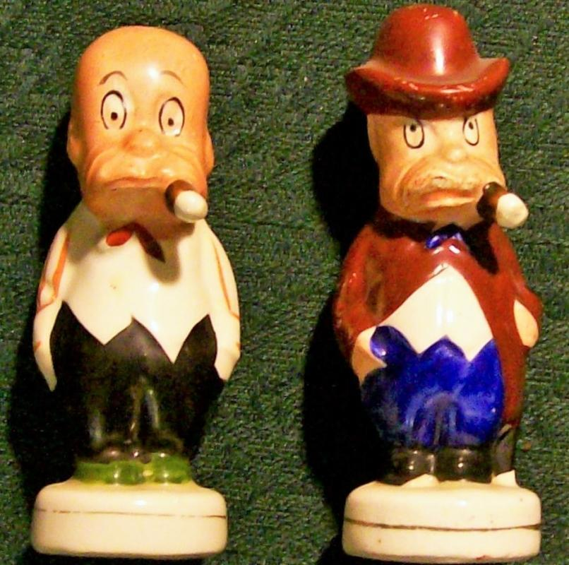 Vintage Silent Sam Comic Salt & Pepper Shakers 1920s Cartoon Men w/Cigars