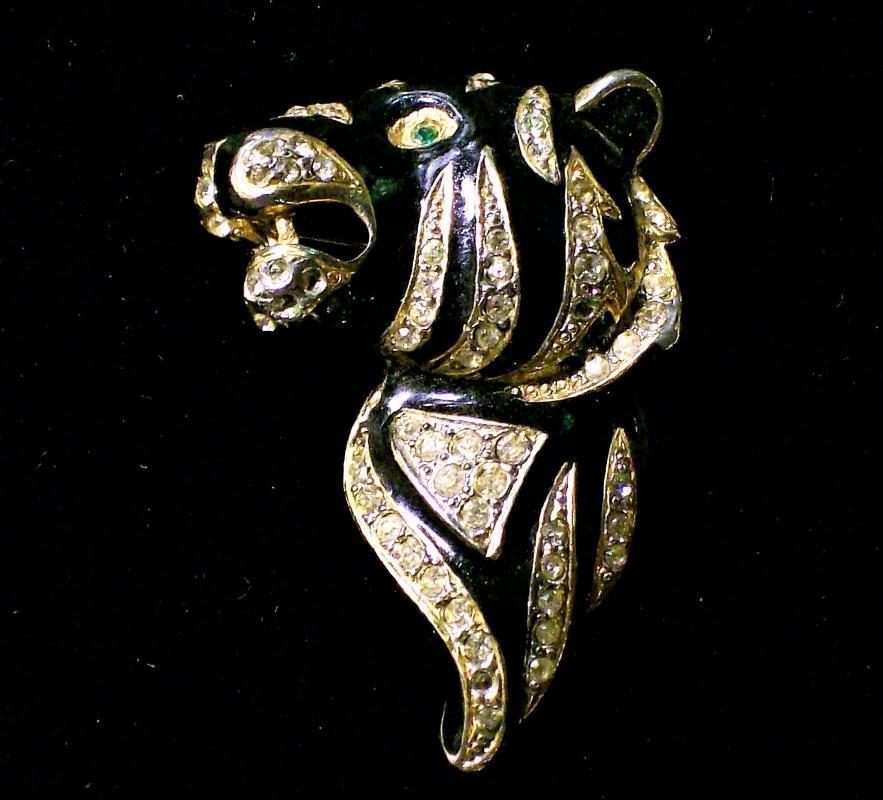 Vintage Craft Tiger Head Pin/Brooch Enamel & Rhinestone 1940s-50s Signed