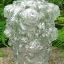 Antique Goofus Glass Puffy Vase Roses Early 1900's 7