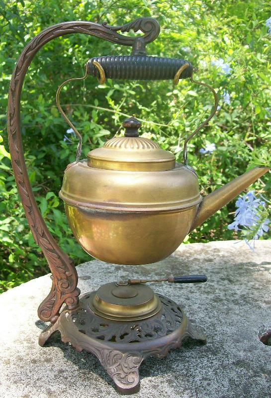 Antique Bradley & Hubbard Hanging Teapot Brass w/ Iron Stand 1890's