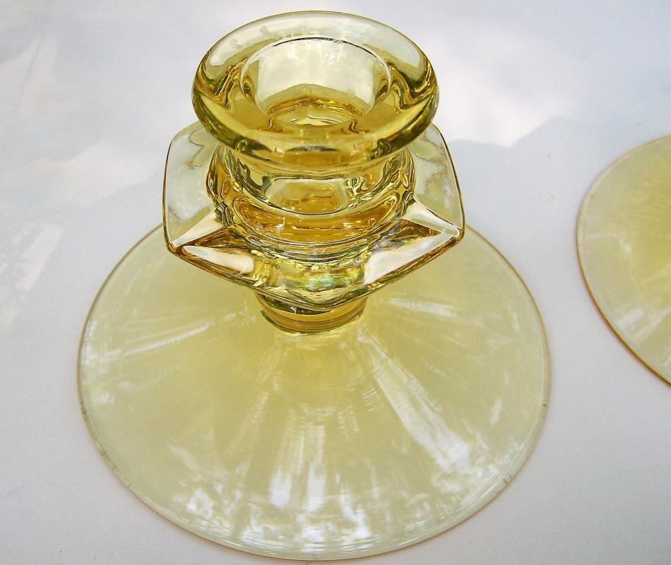 Vintage Fostoria Fairfax Topaz Yellow Candleholder Pair No. 2375