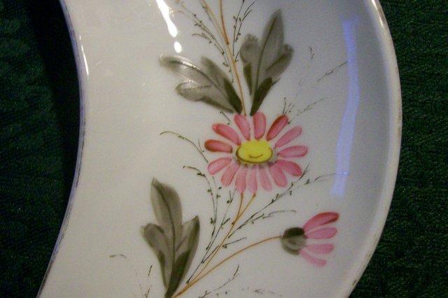 1800's Bone Dish: Hand-painted Flowers