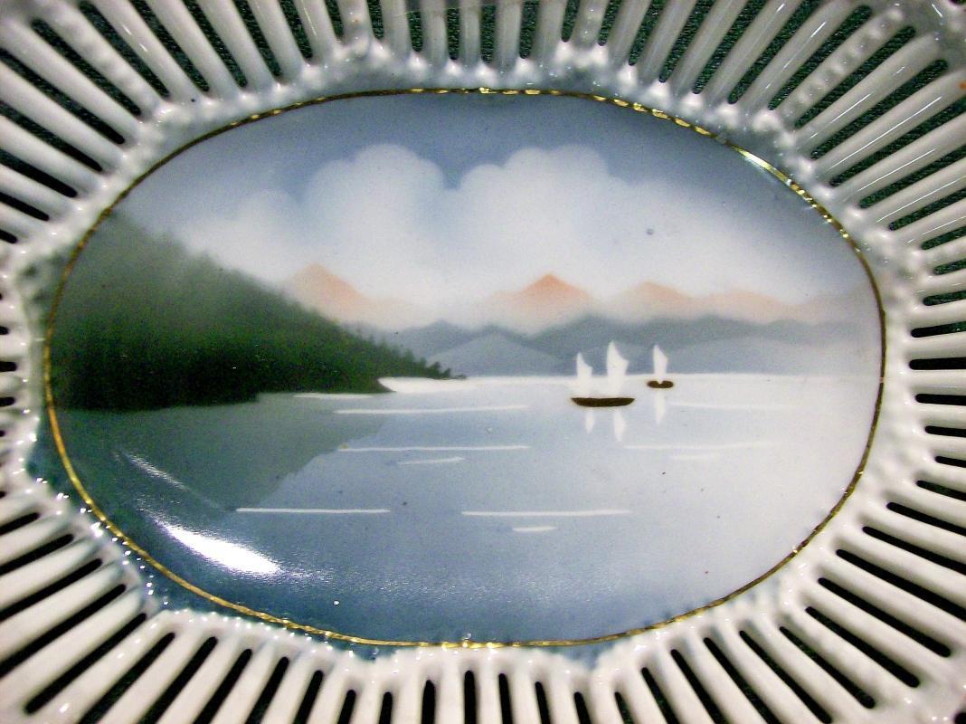 Vintage Pierced-Rim Dish Airbrushed Sampan Sailboat Scene 9.75