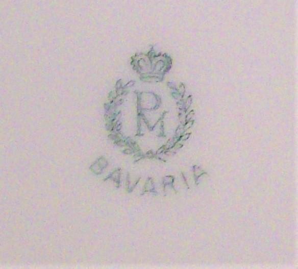 Vintage PM/Moschendorf Bavaria Plate Set/6 Blue Luster w/Roses 6