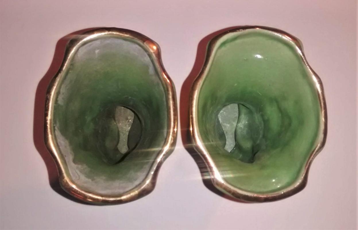 Vintage Cornucopia Vase Pair Green w/Gold USA 1930s-40s