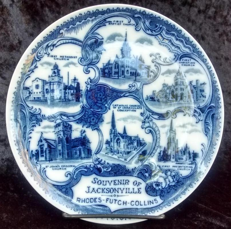 Antique Jacksonville Florida Souvenir Plate Flow Blue Churches 7.75