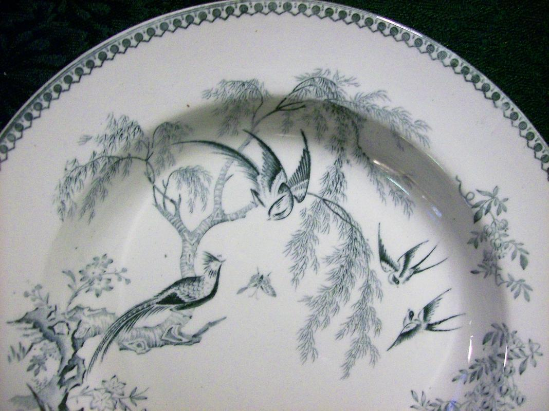 Antique Elsmore Parisian Granite Bowl Chinese Pheasants Ca. 1880 8.75