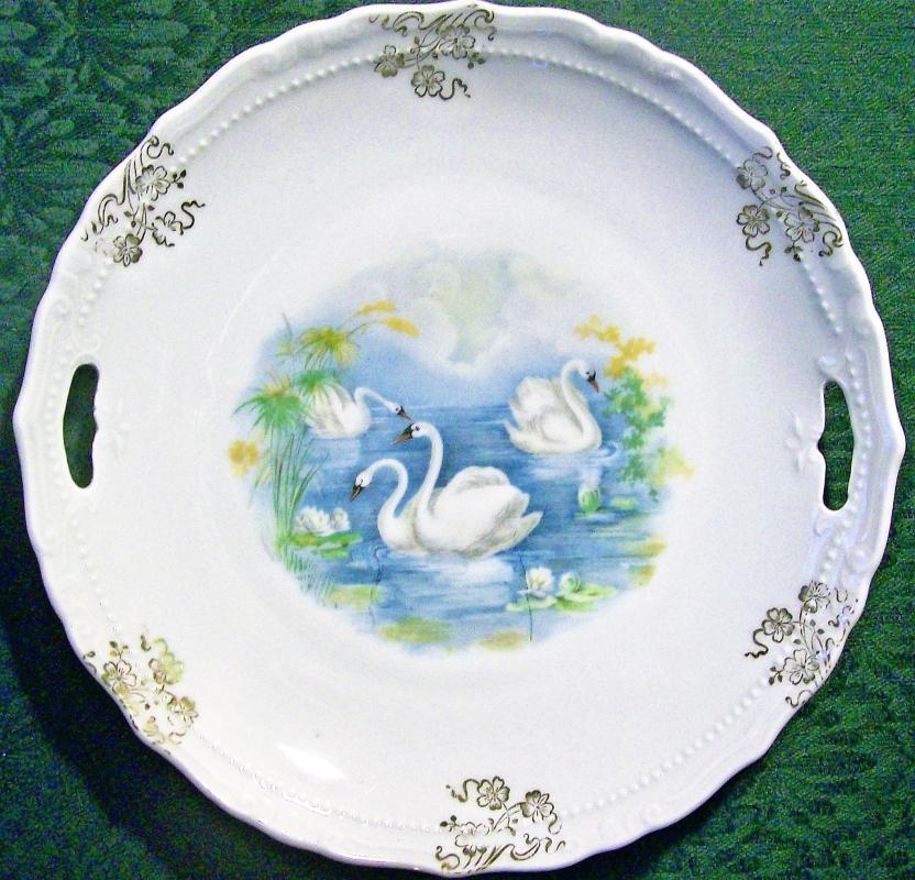 Antique Cake Plate with Swans Early 1900's 9.25
