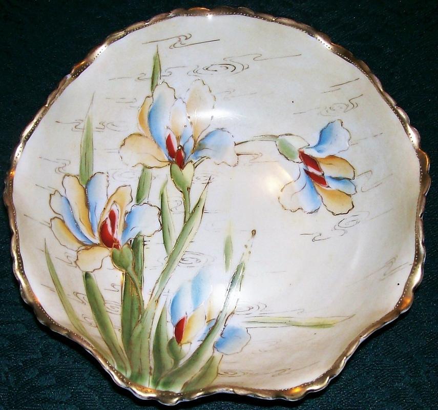 Antique Noritake Nippon Bowl Iris Pattern HP Red/Yellow/Blue 6 7/8