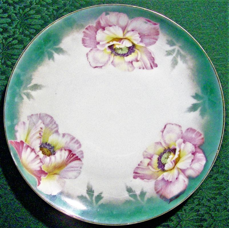 Antique Kloster Vessra Poppies Plate Pink/Green AB Rim 10.75