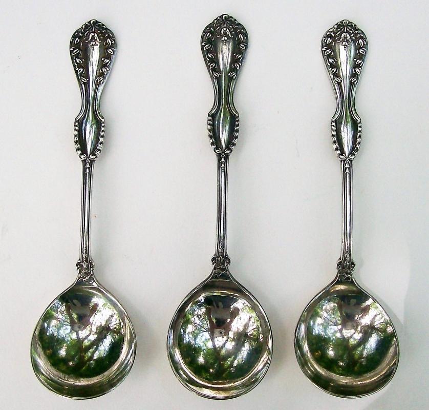 Antique Louis XVI Silver-Plated Bouillon Spoon Set/3 #1900 Nat'l/Bonn/Smith