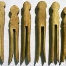 Antique Wooden Clothespin Set/8 Ca. 1900 Primitive Housekeeping/Laundry