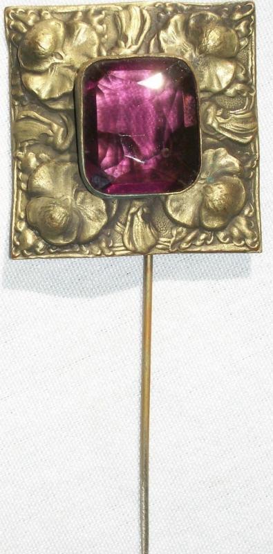 Antique Art Nouveau Scarf/Stick Pin Amethyst Glass & Brass Pansies