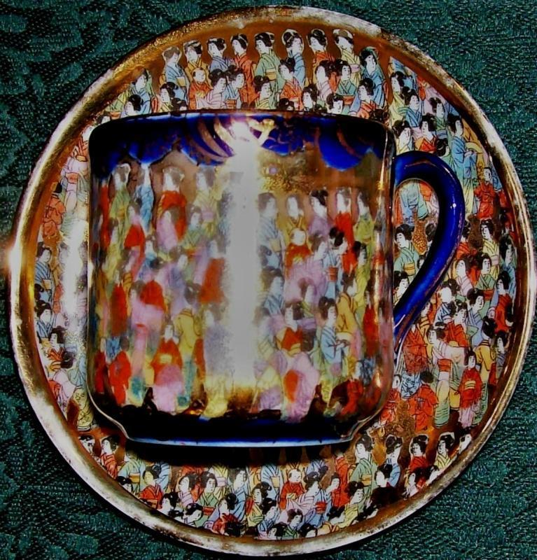 Antique Tashiro Thousand Geisha/Faces Cup & Saucer Cobalt Blue/Gold