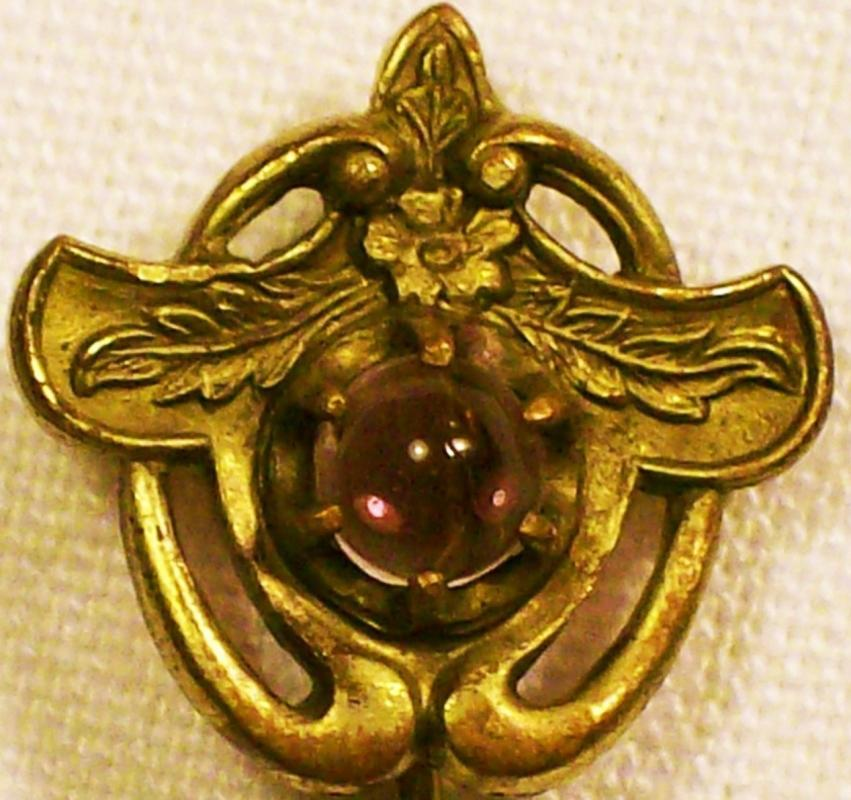 Antique Art Nouveau Scarf/Stick Pin Purple Glass/Gold-Filled