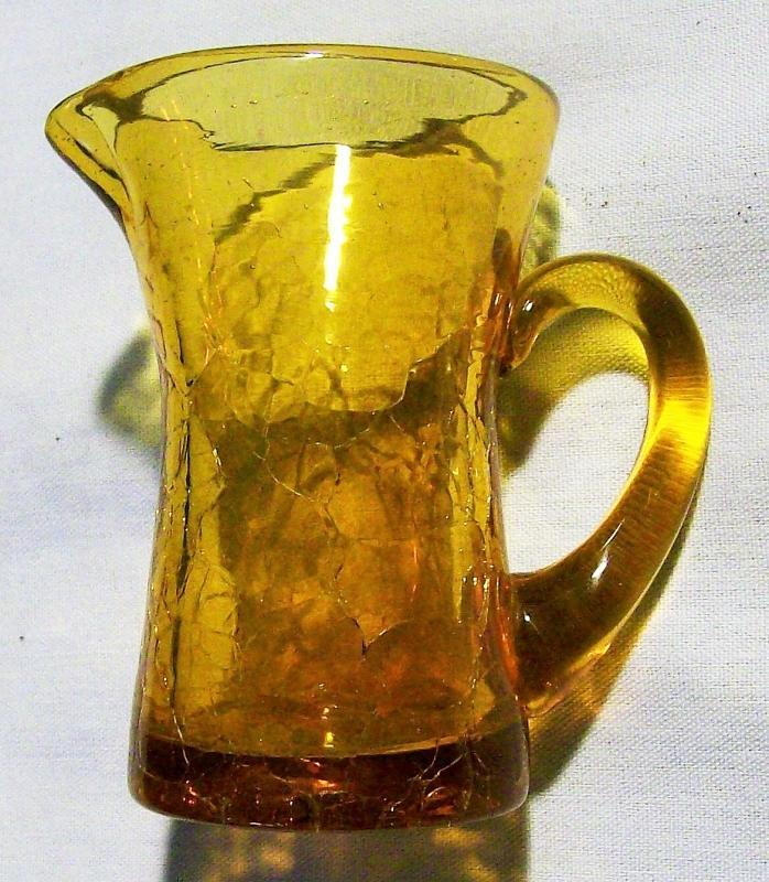 Vintage MCM Crackle Glass Pitcher Amber 3.5