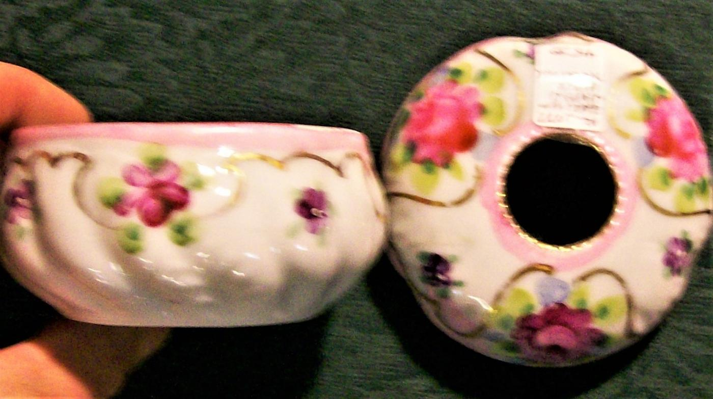 Antique Vanity Hair Receiver Hand-Painted Pink Roses Early Japan