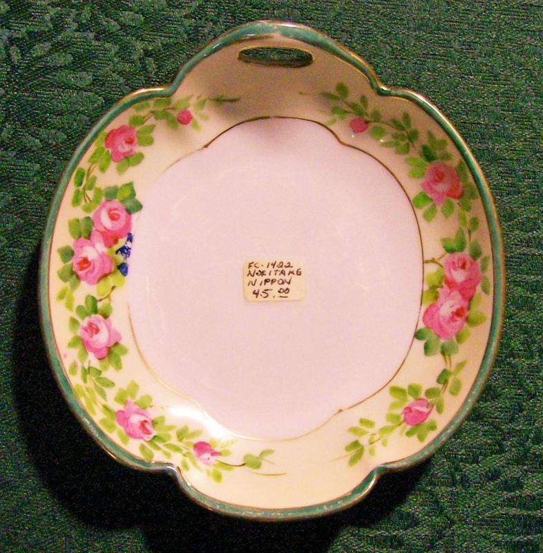 Antique Noritake Nippon Bonbon Pink Roses Hand-Painted Green Rim